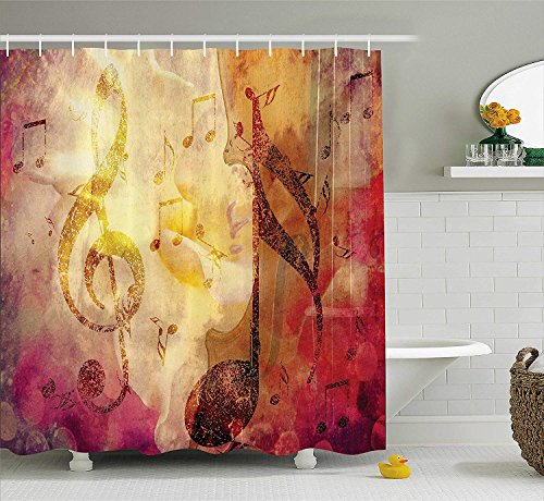 - HarMQ Artsy Shower Curtain Abstract Bath Decor by Modern Musical Artwork Classroom Music Note Theme Grunge Jazz Musician Symbols for Teen Girls Fabric Bathroom Fuchsia Brown 54