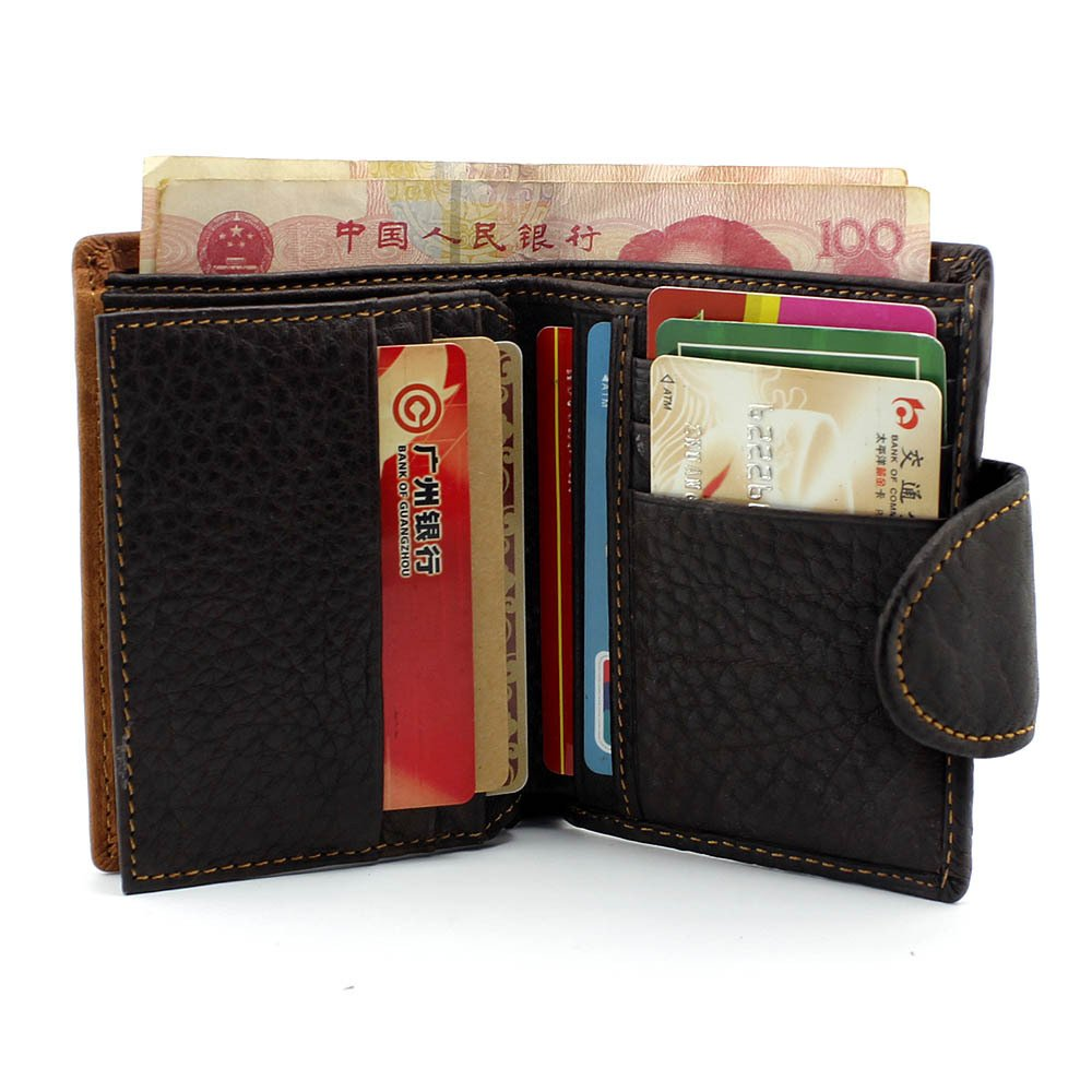 033147a60b52 Men's Cool Eagle Wolf Totem Cowhide Vertical Wallet Zipper Multi-card  Cardholder …