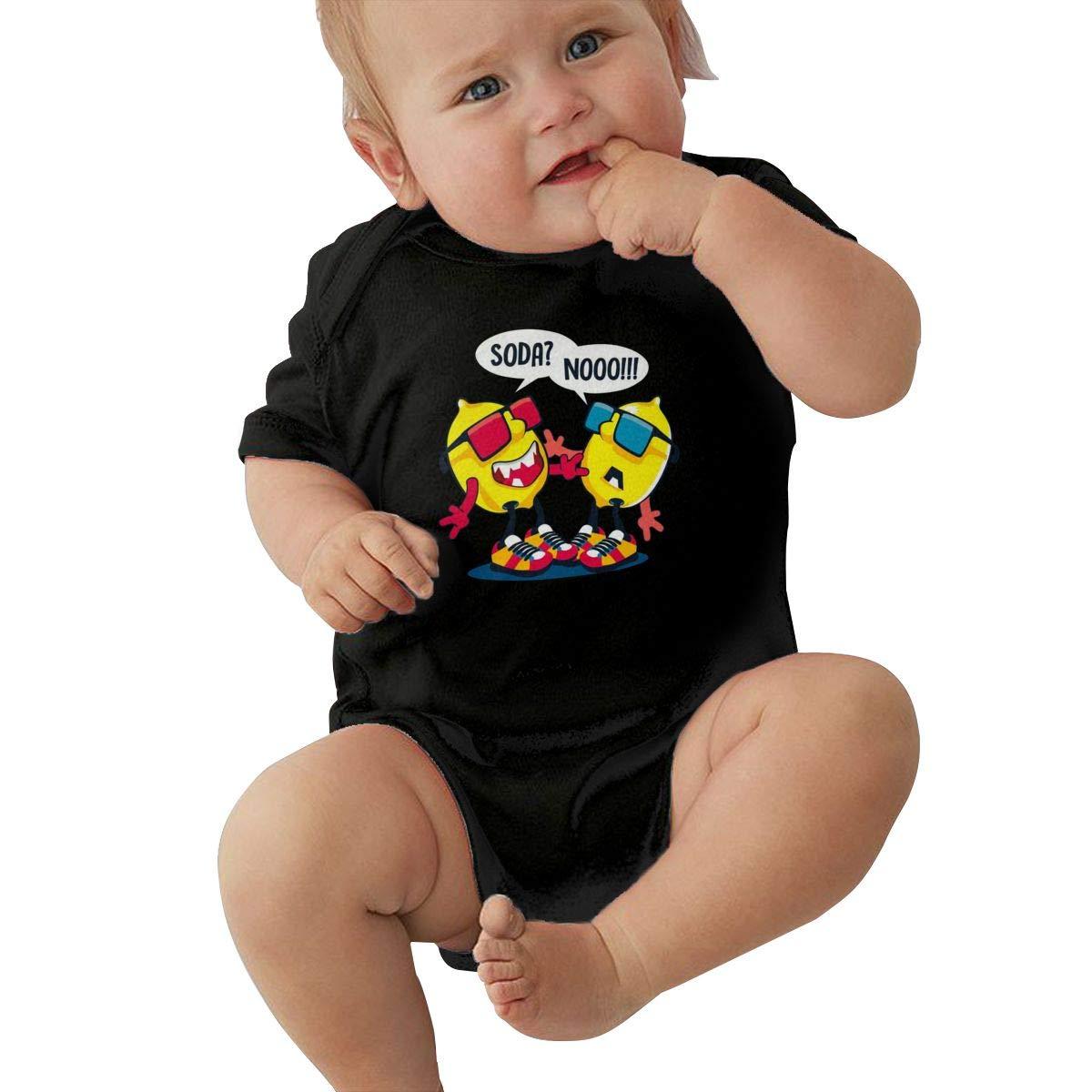 LuYiDa Unisex Baby Crew Neck Short-Sleeve Bodysuit Personification Lemon Funny Crawling Suit Black