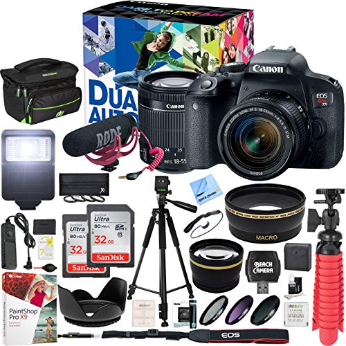 Canon EOS Rebel T7i DSLR Camera Deluxe Video Creator Kit with EF-S 18-55mm is STM Lens and 2 32GB SDHC Memory Cards + 58mm Wide Angle & Telephoto Lens Tripod Cleaning Kit Accessory Bundle