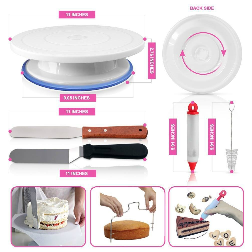Cake Decorating Supplies - (100 PCS SPECIAL CAKE DECORATING KIT) With 55 PCS Numbered Icing Tips, Cake Rotating Turntable and More Accessories! Create AMAZING Cakes With This Complete Cake Set! by Aleeza Cake Wonders (Image #4)