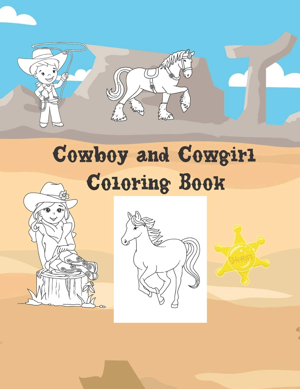 Cowboy And Cowgirl Coloring Book Large 8 5x11 40 Coloring Pages Amazon Co Uk Press Get Silly Books