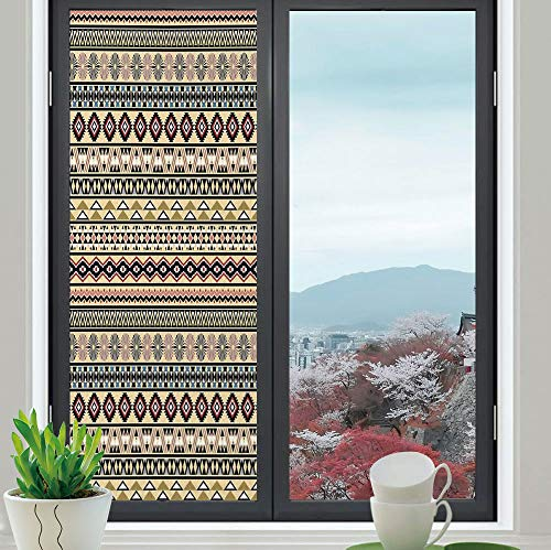 YOLIYANA Privacy Frosted Decorative Vinyl Decal Window Film,Native American,for Bathroom, Kitchen, Home, Easy to Install,Traditional South American Culture Aztek Tribal Print in,24''x70''