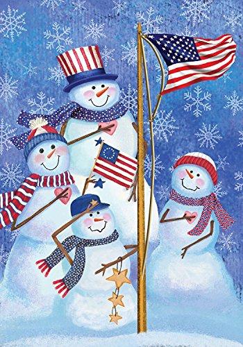"Briarwood Lane Patriotic Snowmen Winter Garden Flag American Flag Snowman Family 12.5"" x 18"""