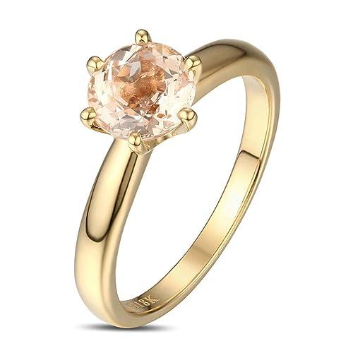 Epinki 18k Oro Anillos para Mujer Anillo Propuesta Matrimonio Anillo de Diamante Oro con Claro Marrón