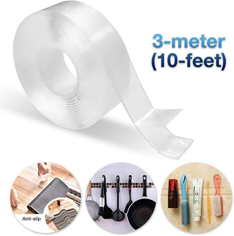 Tunez/® Nano Ruban adh/ésif double face r/éutilisable sans traces multifonction la cuisine bleu le bureau adh/ésif amovible et antid/érapant pour la maison