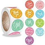 PMCDS2G Thank You Stickers Roll 1inch Flower Wreath 9 Beautiful Styles 500 Units in One Set