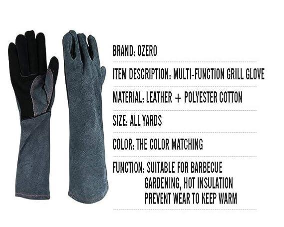 MIG sostenedor del pote Negro-Gris DAN Guantes Resistentes al Fuego Cuero con Costuras Horno Chimenea BBQ Parrilla manejo Animal Estufa Soldadura