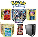 Pokemon Lot Guaranteed GX with Booster Pack, 5 Rare Cards, 5 Holo/Reverse Holo Cards, 20 Regular Pokemon Cards and 1x Premium Playset Binder 12-Pocket Collector's Portfolio