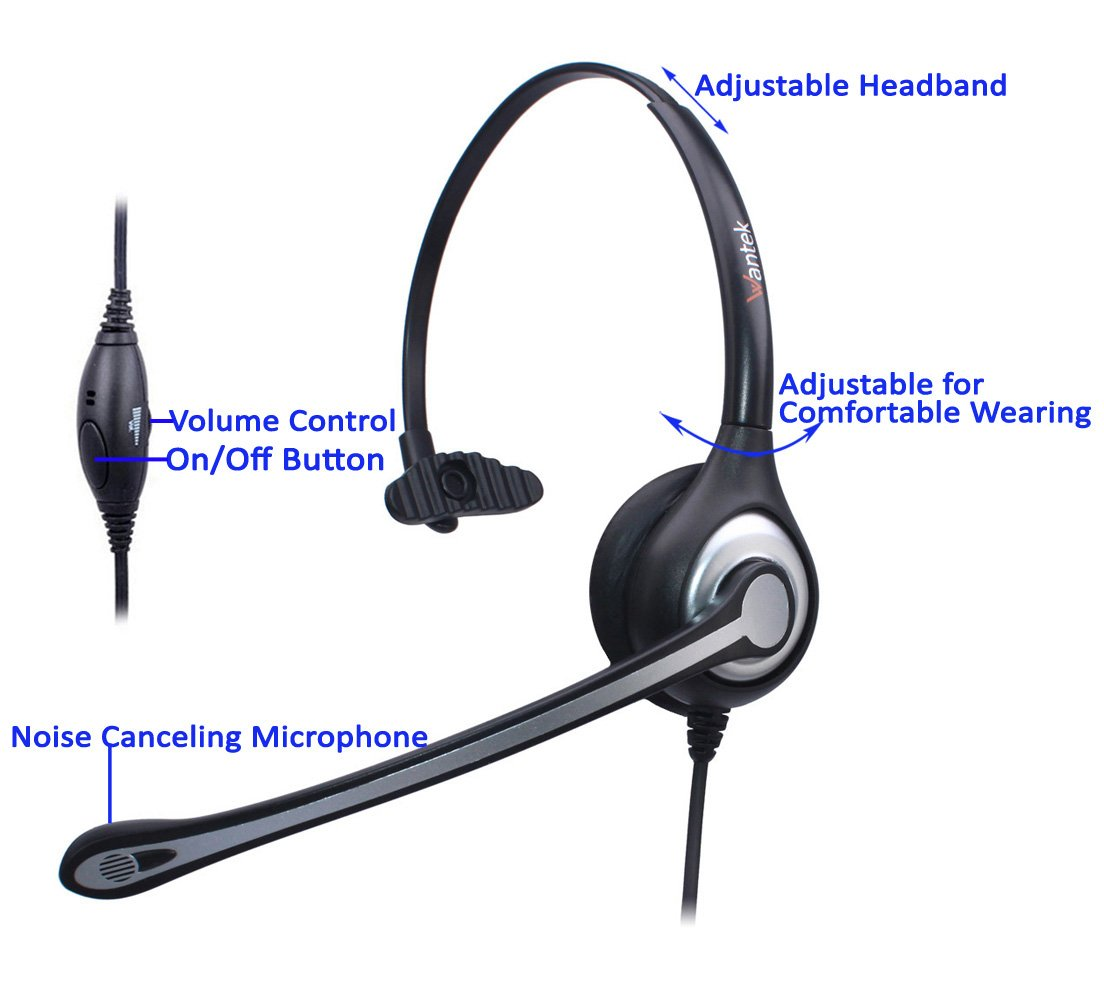 Wantek Cell Phone Headset Mono with Noise Canceling Mic and Adjustable Fit Headband for iPhone Samsung Huawei HTC LG ZTE Blackberry Mobile Phone and Smartphones with 3.5mm Jack(F600J35) by Wantek (Image #2)