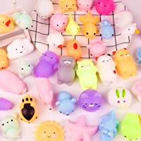 KUUQA 40 Pcs Mochi Squishies Kawaii Animal Squishy Unicorn Dinosaur Tortoise Mini Soft Squeeze Stress Reliever Toys for…