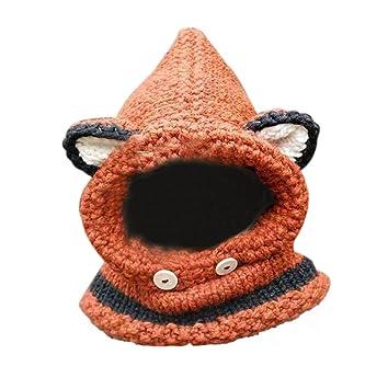 d8cf0bff31ee7 ノーブランド ベビー ニット帽 マフラー 女の子 赤ちゃん オシャレ 帽子 可愛い 狐 キャップ 防寒対策 保温