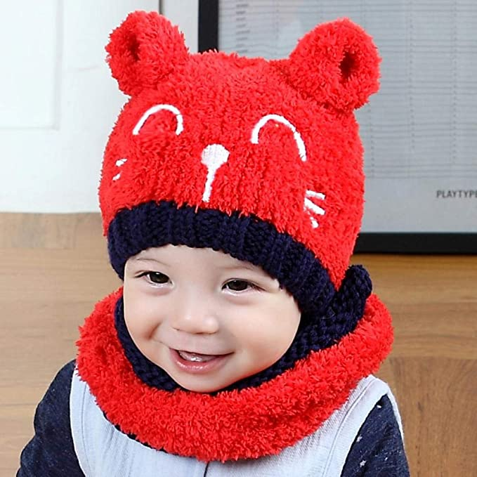 2PCS Toddler Baby Knit Hat Scarf Winter Warm Beanie Cap with Circle Loop Scarf