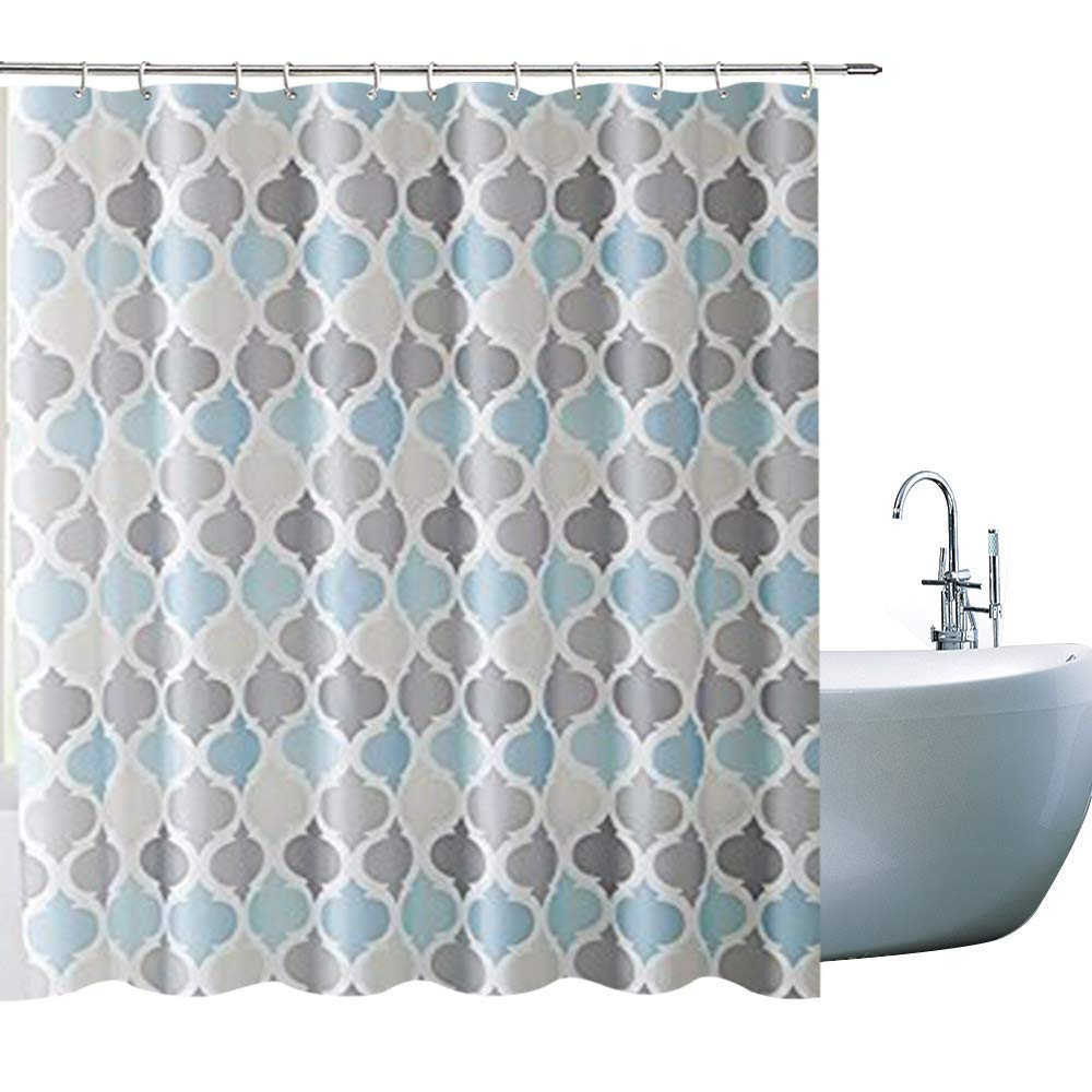VCNY Home Universal Bathroom Fabric Shower Curtain for Men Or Women: Muted Tones of Blue and Grey