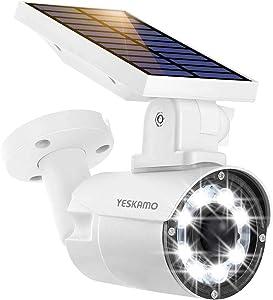 Dummy Security Camera Outdoor Solar Motion Sensor Light, YESKAMO PIR Motion & Photon Sensor Fake Camera 800 Lumen LED Floodlight, IP66 Weatherproof Solar Security Light for Home Outdoor