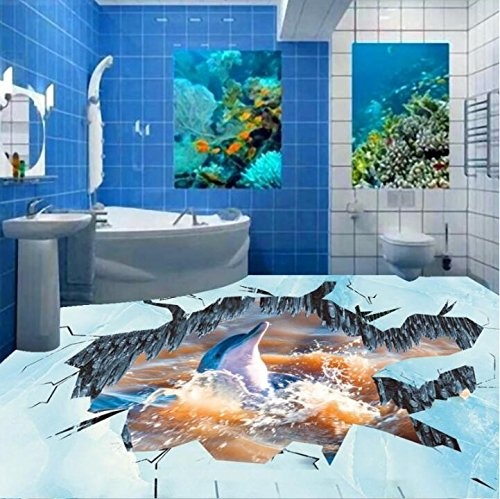 Cheap  3D Floor Paste Wallpaper Ice Fire Dolphin Kitchen Home Lobby Restaurant Floor..