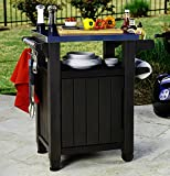 Brown Barbecue Table Tray Casters Rolling Garden Camping Home Preparation Spice Holder Hooks Bottle Opener & eBook by Easy&FunDeals