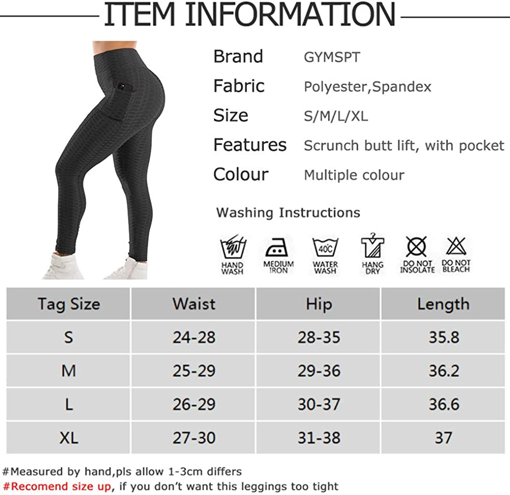 Tummy Control Scrunch Butt Lifting Workout Leggings Booty Tights POWERASIA High Waisted Yoga Pants with Pockets for Women