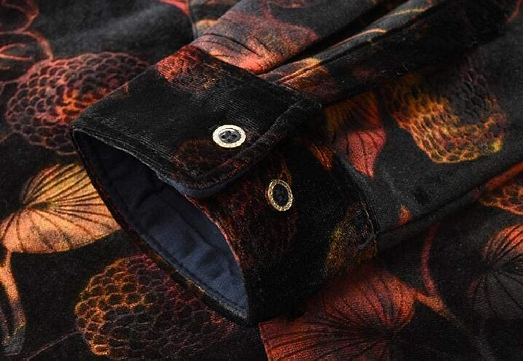 YYG Men Casual Printed Long Sleeve Slim Fit Faux Fur Lined Button Down Dress Work Shirt