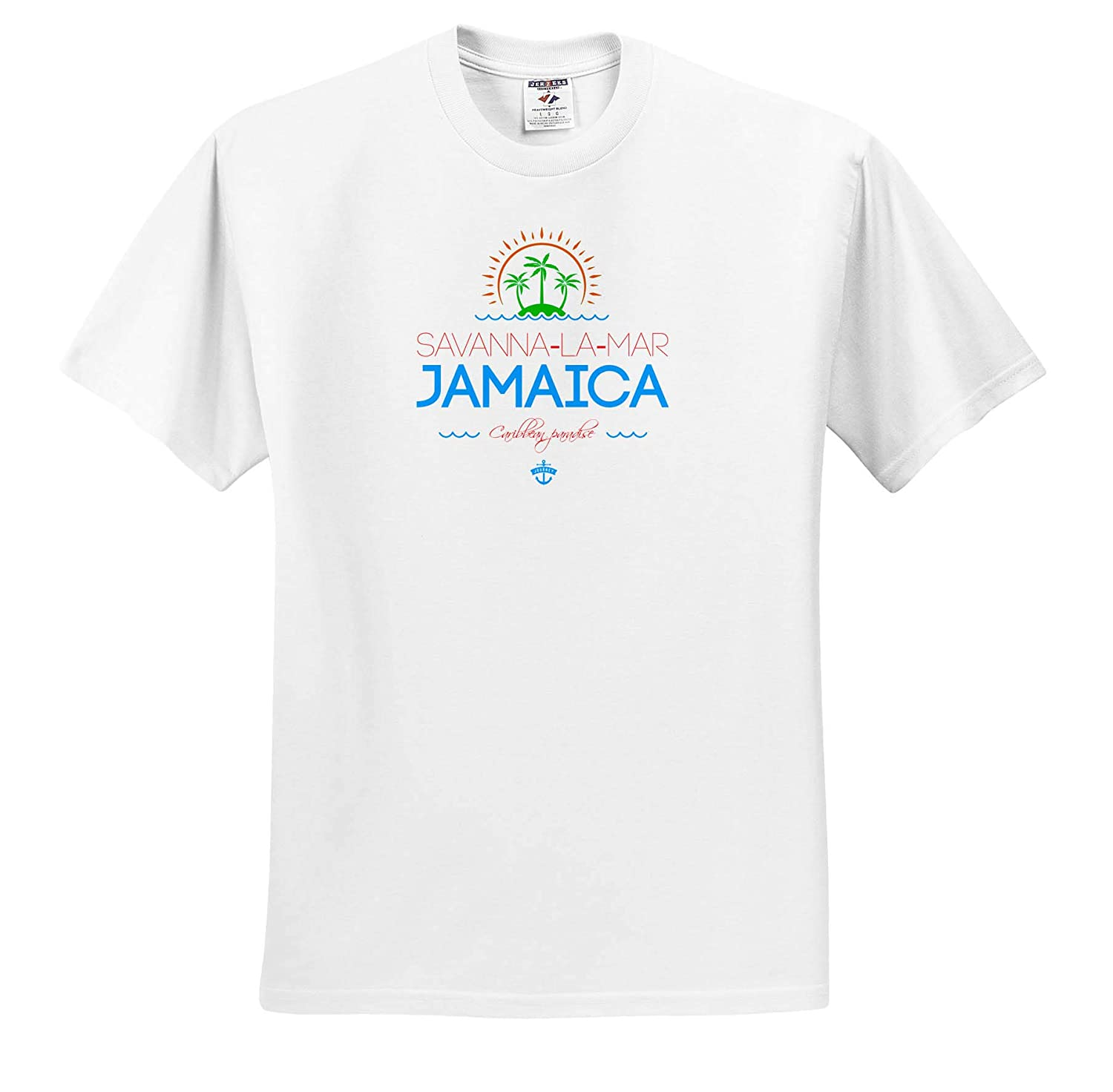Savanna-la-Mar ts/_313235 3dRose Alexis Design Cities Jamaica Adult T-Shirt XL Jamaica City Summer Journey and Fun