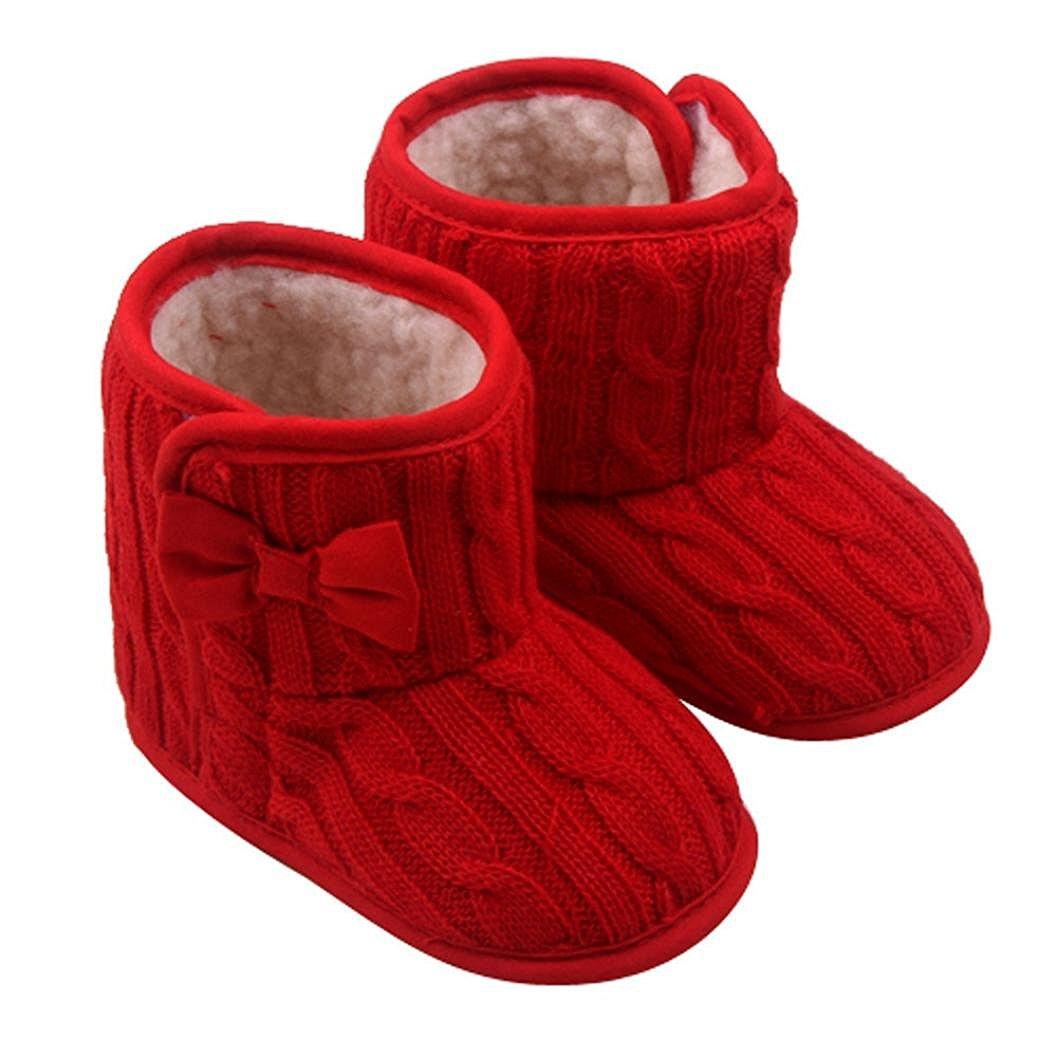 Auxma Bébé d'hiver chaud Premières chaussures de marche Bowknot Soft Bottes de neige pour tout-petits (3-6 mois, Rouge)