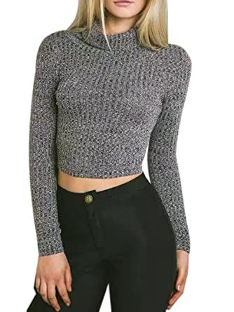 Joeoy Women's Turtle Neck Knitted Cropped Sweater Jumper at Amazon ...