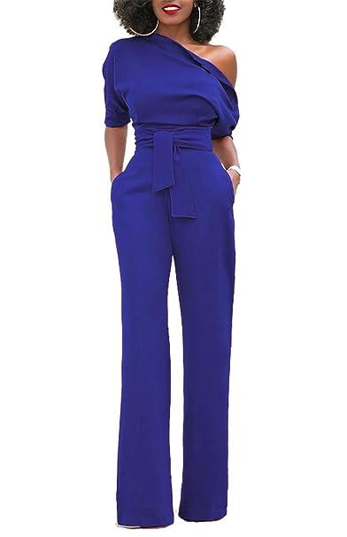 KISSMODA Manica corta da donna con spalle scoperte Pagliaccetti Pantaloni  lunghi Clubwear Navy Small