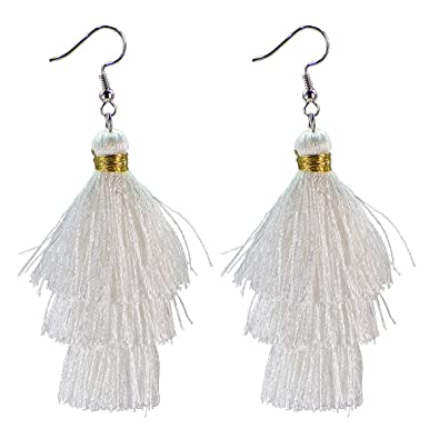 8d027b705 AD Beads Fashion Charm Crystal Silk Tassel 3 Layers Fan Fringe Dangle  Earrings (01 white