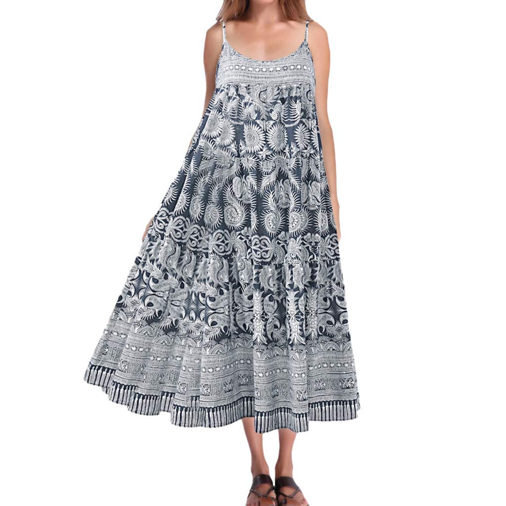 wodceeke Women Casual Loose Vintage Boho Print Sleeveless Off Shoulder Sling Long Dress(Blue,XXXXL) by wodceeke