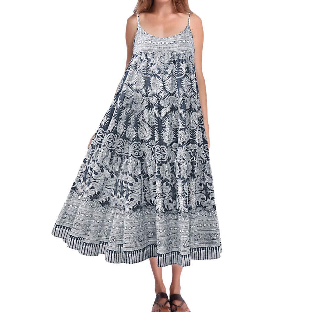 wodceeke Women Casual Loose Vintage Boho Print Sleeveless Off Shoulder Sling Long Dress(Blue,XXL)