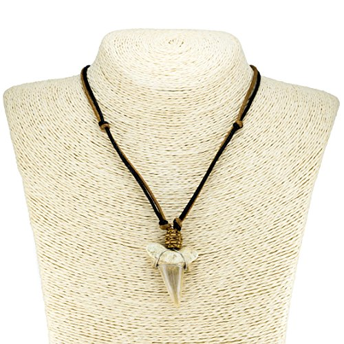 Shark Tooth Pendant on Black and Brown Cord Necklace (3S) ()