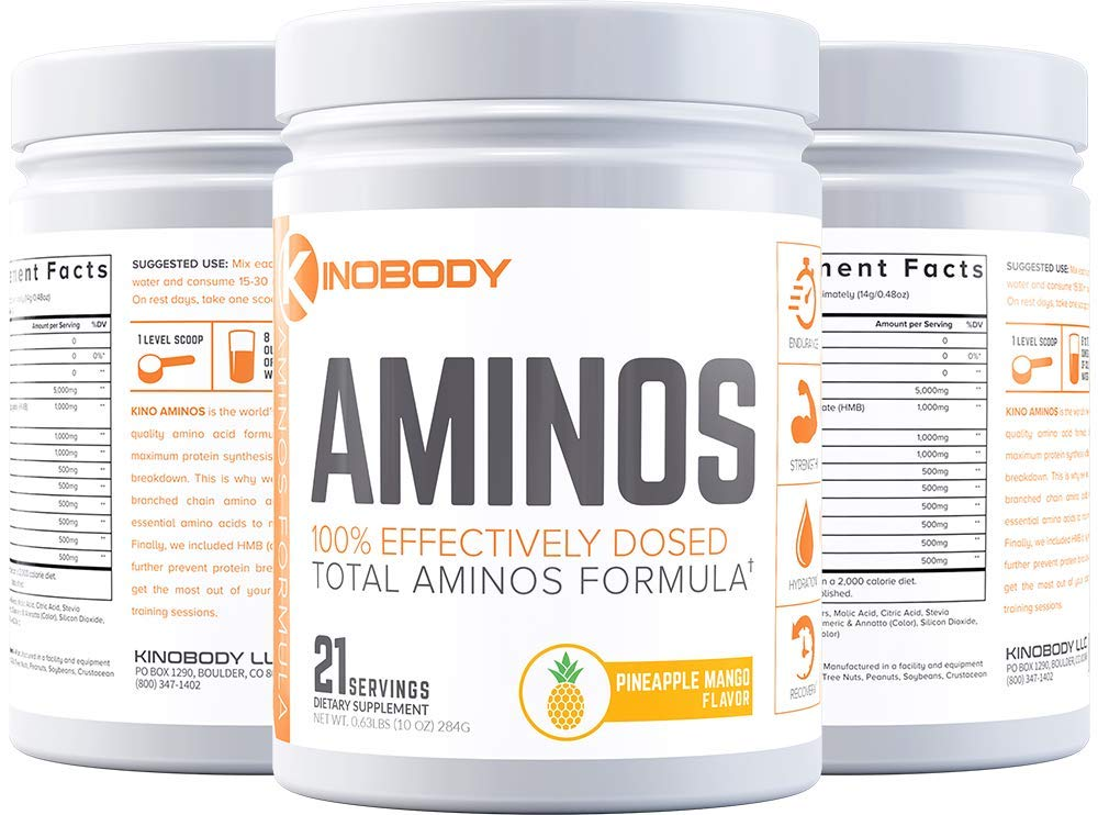 Kinobody: Kino AMINOS - Natural BCAA Supplement - 21 Servings - Boost Natural Muscle Growth - Lower Fatigue from Training - Improve Recovery Time - Fuel Fasted Training - Pineapple Mango