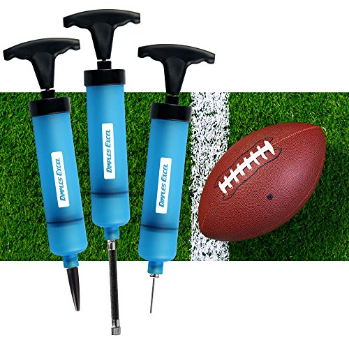 Football,Volleyball Rugby Sport Ball and Other Sports Ball Dual Action Ball Pump 2 Pack with Needle,Plastic Needle and 3 air Hose Best for Basketball Soccer