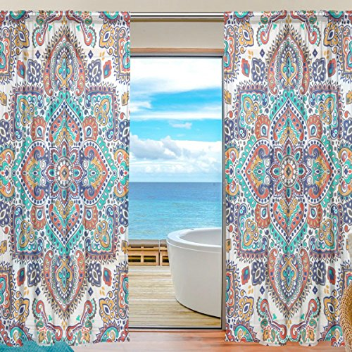 Floral Floral Paisley Medallion Semi Sheer Curtains Window Voile Drapes Panels Treatment-55x84in for Living Room Bedroom Kids Room, 2 Pieces