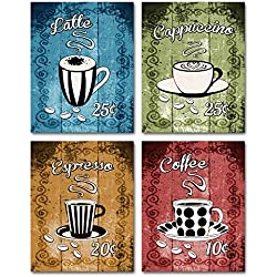 Latte, Cappuccino, Espresso, Coffee - Retro Coffee Themed Wall Art! Set of four 8x10 prints. Kitchen, Cafe, Diner, Restaurant Decor