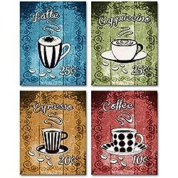 Latte, Cappuccino, Espresso, Coffee - Retro Coffee Themed Wall Art! Set of four 8x10 prints. Kitchen, Cafe, Diner, Restaurant Decor