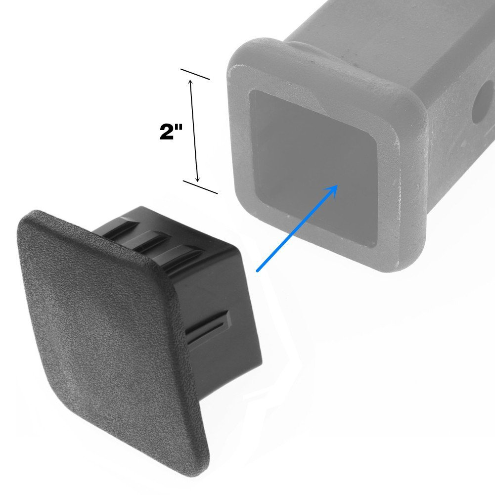Size 2 inches Black Receiver Tube Trailer Hitch Plug Set of 2 Trailer Hitch Cover