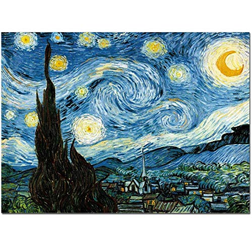 FajerminArt Famous Oil Paintings Giclee Canvas Prints Starlit Night Van Gogh for Wall Art Decoration 36x48 Inch Unframed ()