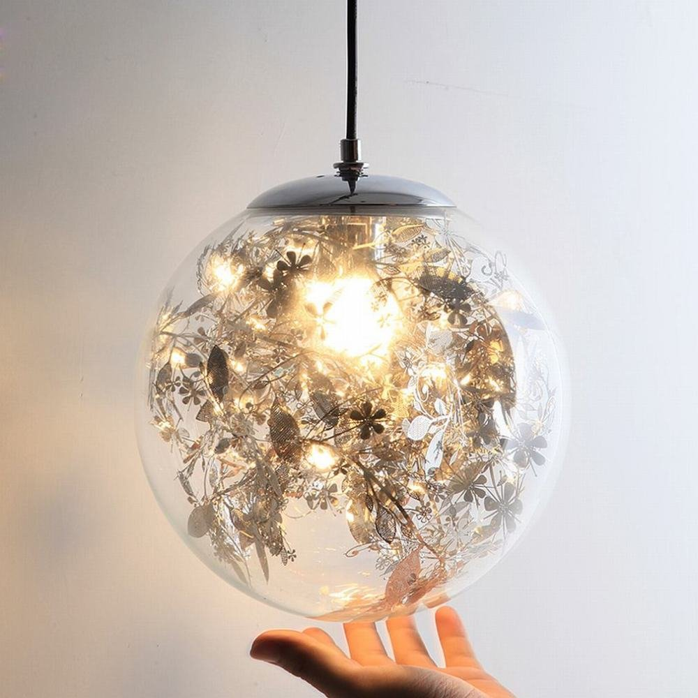 DEN Glass chandelier Nordic modern minimalist creative personality living room dining room chandelier,A,25cm