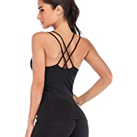 TALEVE Women Yoga Tank Tops Workout Shirts Built in Shelf Bra Strappy Back Activewear Racerback Compression Top