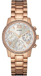 Guess Womens MINI SUNRISE Pink Steel Bracelet & Case Quartz Silver-Tone Dial Analog Watch