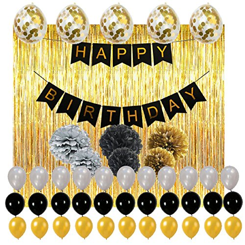 Happy Birthday Decorations Party Supplies Set, 114pcs Party Decoration With Gold Confetti Balloons, Fringe Curtain Backdrop, Paper Pom Pom Flowers, Banner, Latex Balloon, Perfect For Kids And (Sweet 16 Party Favors Ideas)