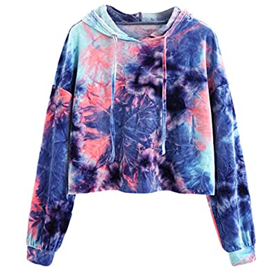 6009ce130629 Amazon.com  Amiley Women Teen Girls Tie Dye Cropped Hoodie Long Sleeve  Pullover Round Neck Crop Top Sweatshirt Pink  Shoes