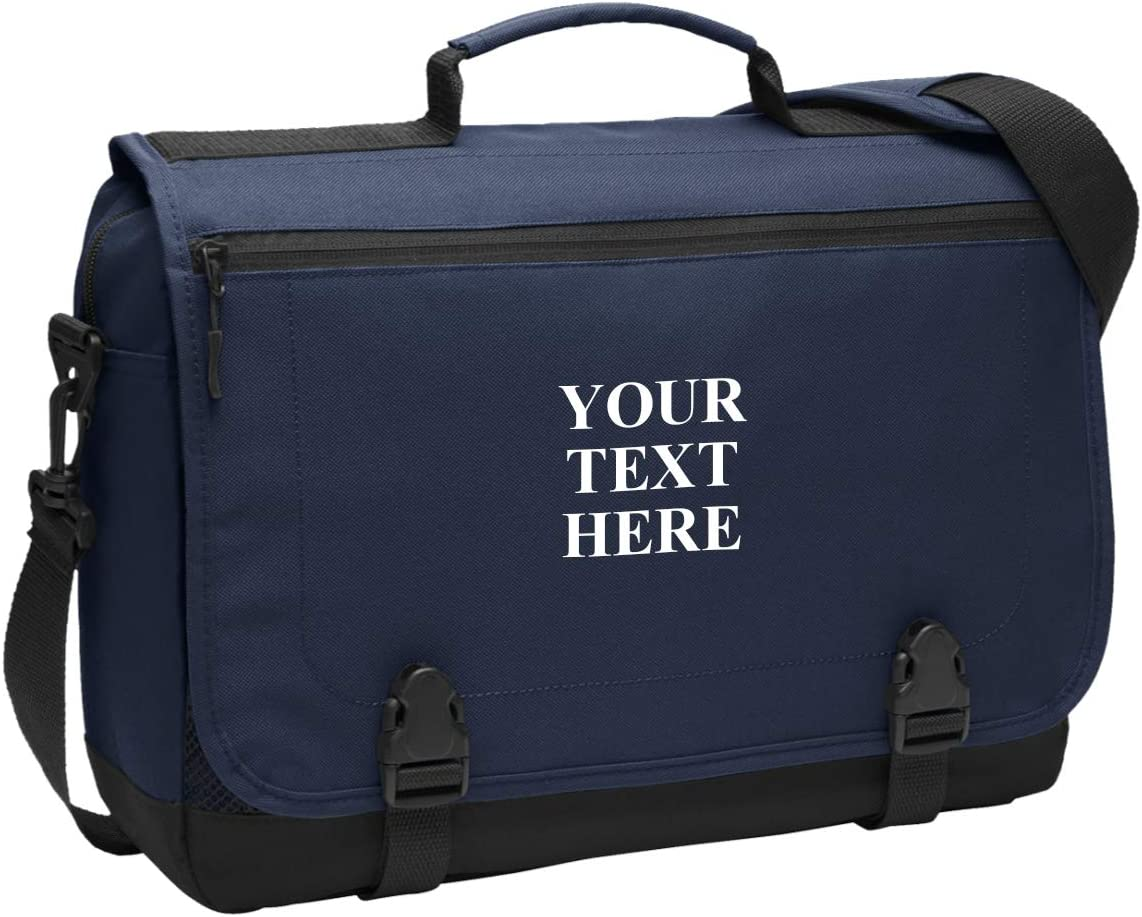 Personalized Messenger Briefcase Protective Laptop Bag Shoulder Bag Custom Add Your Embroidered Logo, Text (Navy)