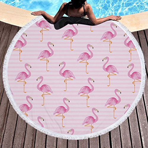 (IMEI Flamingo Round Beach Towel, Ultra Soft Super Thick Oversized Beach Picnic Blanket Throw Bohemian Style Yoga Mat Tapestry withTassel (Pink)