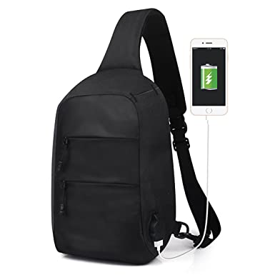 41ced0b12aa5 Sling Bag with USB Charging Port Crossbody Canvas Chest Bag for Men  Lightweight Waterproof Hiking Backpack (Black)  Amazon.co.uk  Clothing