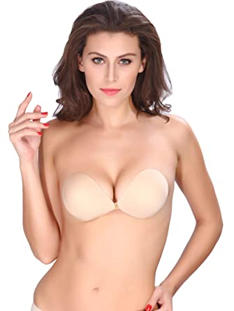 75237aba8a Image Unavailable. Image not available for. Color  AVIGOR Women s Strapless  Bra Self Adhesive Silicone Sticky Bras Reusable Invisible Backless ...