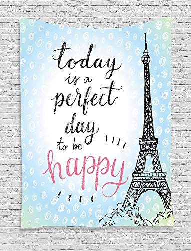 40x50 Blanket Comfort Warmth Soft Plush Throw for Couch Eiffel Tower Perfect Day Polka Dot Handwriting (Paris Plush)
