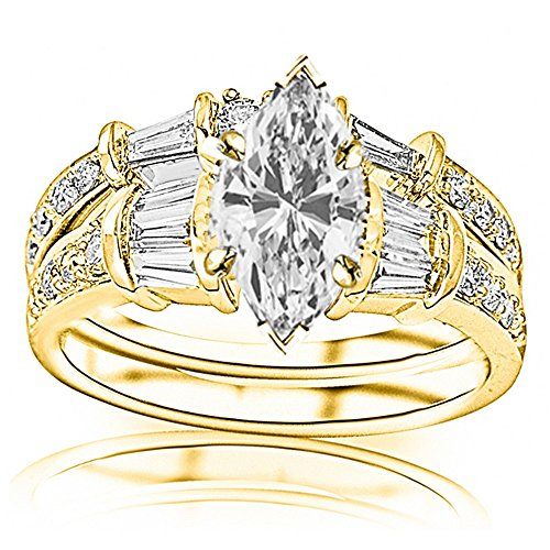 Set Three Baguette Diamond Band - 1.58 Carat t.w. GIA Certified Marquise Cut 14K Yellow Gold Baguette And Round Brilliant Diamond Engagement Ring and Wedding Band Set (I-J Color VS1-VS2 Clarity Center Stones)