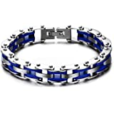 MP Stainless Steel Blue Silicone Motorcycle Bike Chain Hand Link Bracelet Biker Gothic Type,20.5 cm
